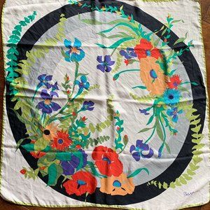 Vintage Bayron Silk Square Scarf Floral Colorful